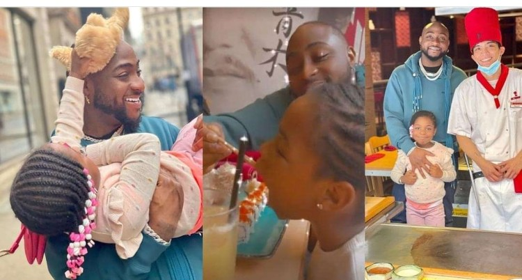 Davido and his daughter, Imade serve father-daughter goals as they go on a date in the UK (Video)