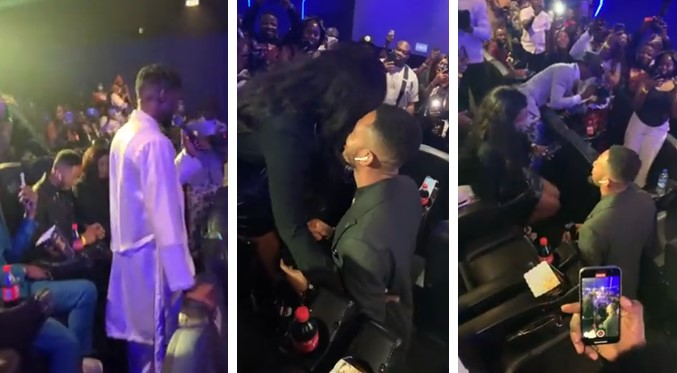 Nigerian man proposes to his girlfriend at Singer, Johnny Drille's Album Listening event (Video)