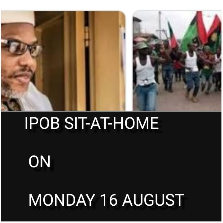 IPOB Sit-At-Home on Monday 23 August 2021