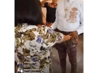 Birthday mates, Tonto Dikeh and D'banj hold hands in prayer as gospel singer Moses Bliss and others pray with them (video)