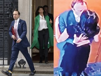 UK Health Secretary, Matt Hancock resigns after he was caught locking lips with an aide (Photos)