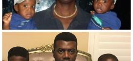 Reno Omokri with his twin boys that year and now