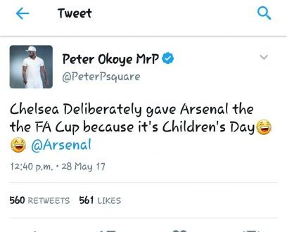 Twitter user's reply to Peter Okoye after he made a joke about Arsenal