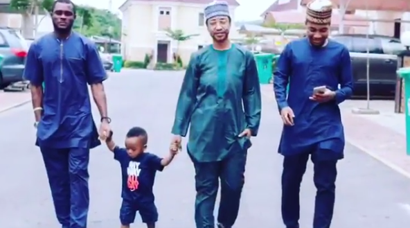 What husband? Tonto Dikeh dresses like a man for son's Father's Day celebration at school (Photos)