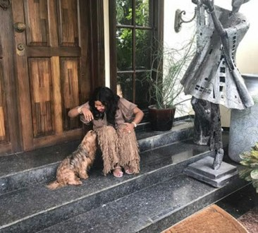 Billionaire Daughter Jennifer Obayuwana be twinning with her dog (Photos)