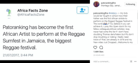 Patoranking becomes first African artiste to perform at Reggae Sumfest in Jamaica