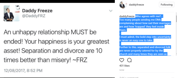 Separation and divorce are 10 times better than misery- Daddy Freeze