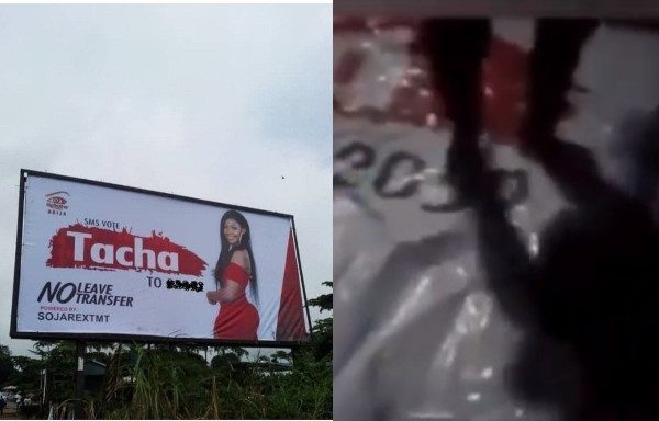#BBNaija: Tacha's billboard gets destroyed in Imo State (video) 1