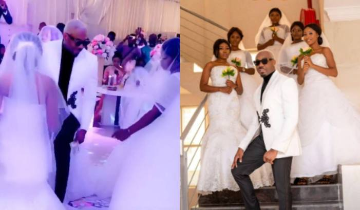 Pretty Mike attends wedding with 5 ladies dressed as brides in wedding gown (Video) 3