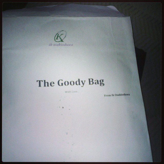 Picked up my #goodybag from @ik_osakioduwa. Will spill contents when I get home