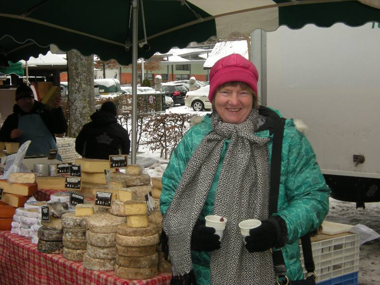 Sylvia with mulled wine @ market in Ferney