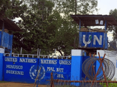 The entrance to the United Nations Organization Stabilization Mission in the Democratic Republic of the Congo (MONUSCO) compound of Boikene Camp is seen locked in Beni in North Kivu province of the Democratic Republic of Congo, November 16, 2018. REUTERS/Samuel Mambo