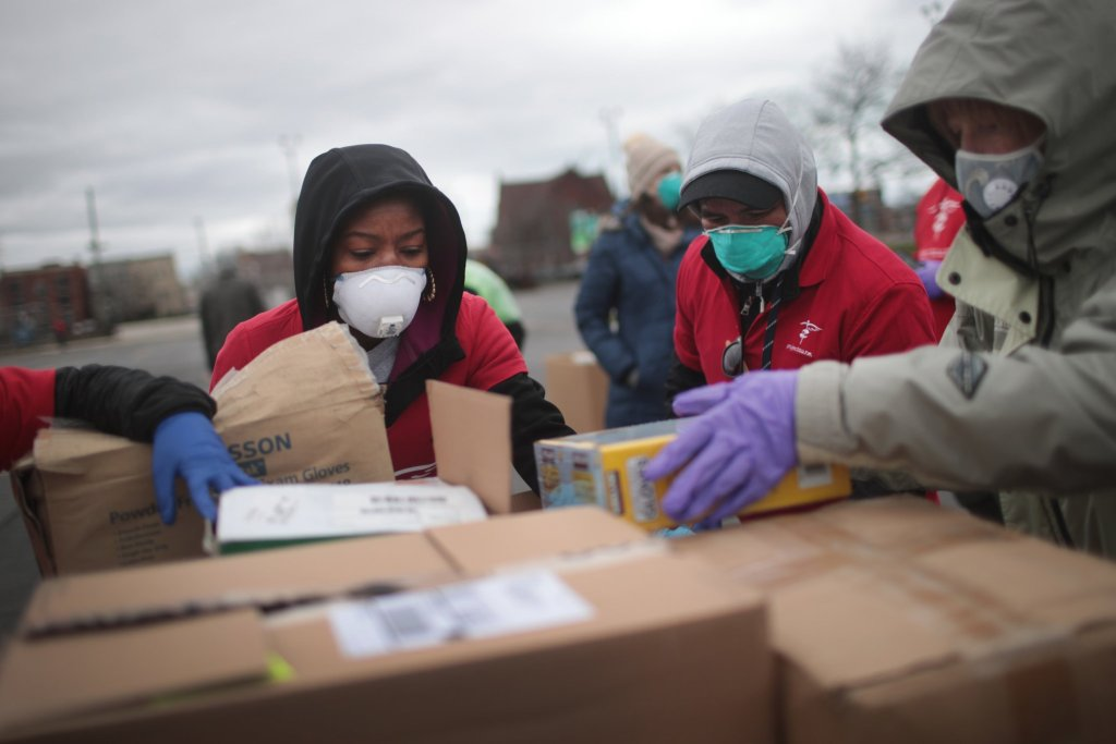 Donations of personal protective equipment were collected to distribute to medical workers in Chicago.