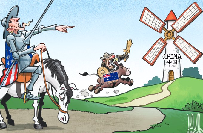 Cartoon in Chinese media depicts Australia as America's servant
