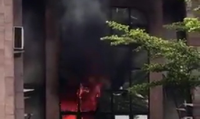 Nigerian Postal Services Headquarters on fire right now