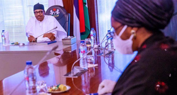President Buhari and Minister of Finance Zainab Ahmed