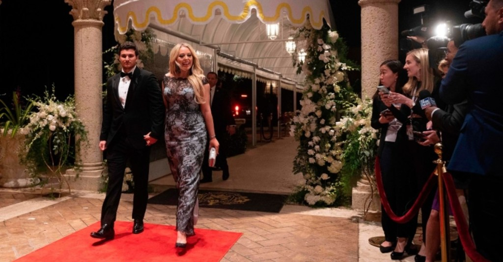Michael boulos and Tiffany Trump at Thanksgiving party - red carpet walk