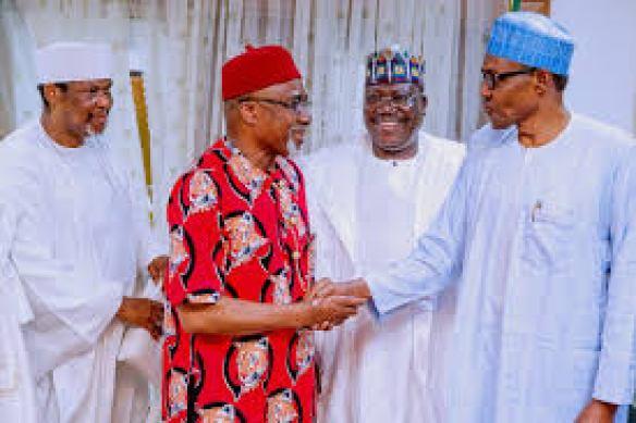 Senator Enyinnaya Abaribe, Senate President Lawal and President Muhammadu Buhari