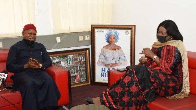The Nigerians in Diaspora Commission (NIDCOM) Chairman/CEO Hon Abike Dabiri-Erewa and Dr. Christian Madubuko and the Anambra State Commissioner for Diaspora Affairs, Culture and tourism Dr. Christian Madubuko