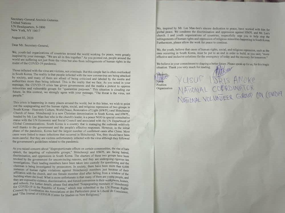 Nigeria Kaduna Social Media Forum Yusuf Amoke Idris With the signed Joint letter