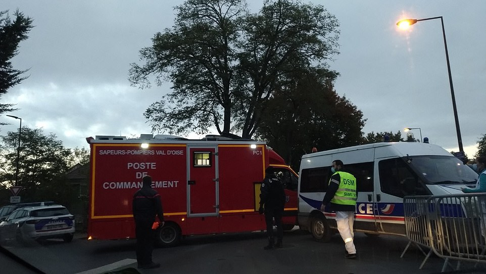 Pictured- More emergency services gathering after the attack and subsequent shooting