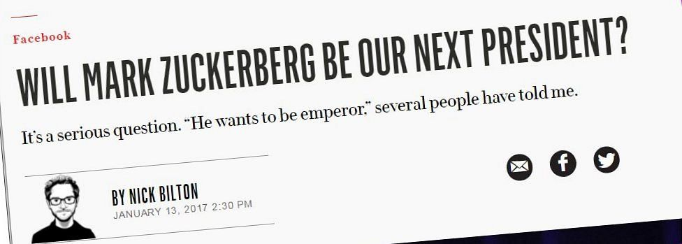Speculation that Mr Zuckerberg would run for president.