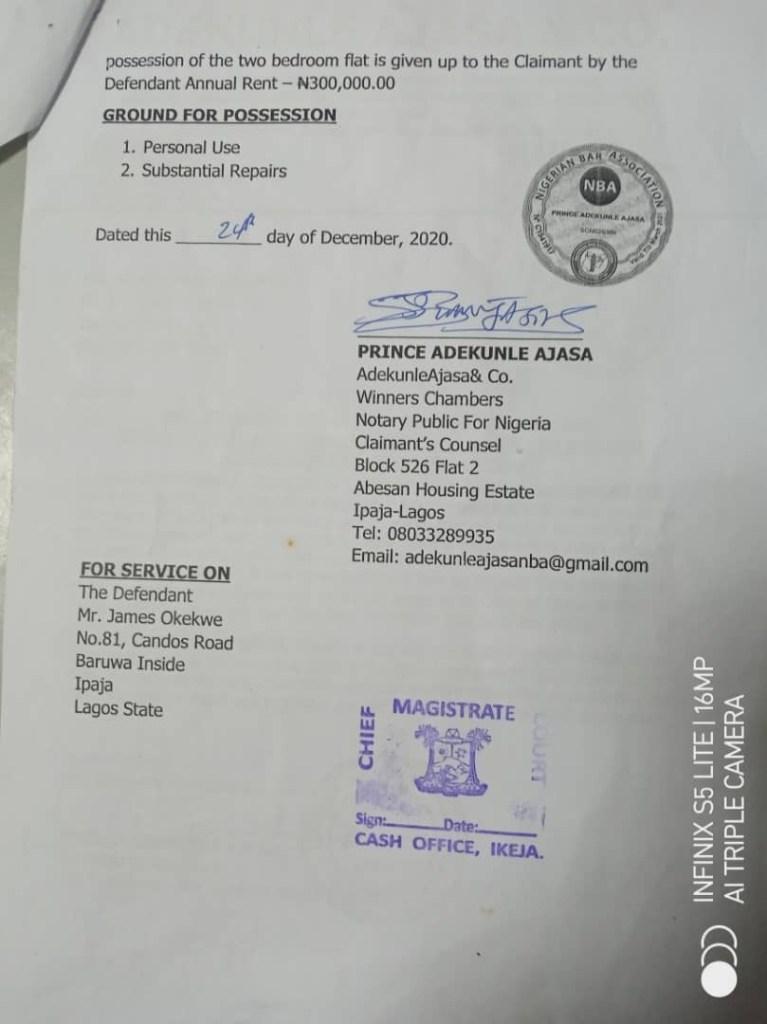 Save Lagos Group warns Lagos judiciary over 'kangaroo' tenant eviction orders - document 2