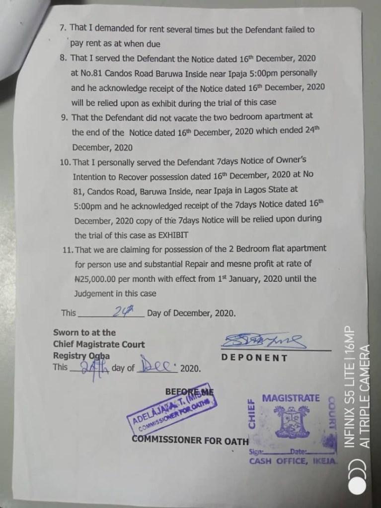 Save Lagos Group warns Lagos judiciary over 'kangaroo' tenant eviction orders - document 5
