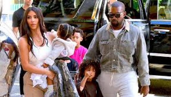Kanye West, wife Kim Kardashian and their children
