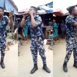 Nigerian Police Officer In Uniform Spotted Preaching At A Market (video)