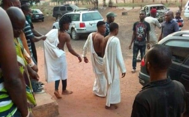 See How These Three Boys Were Caught As They Were Trying To Use A Girl For A Ritual In Edo State