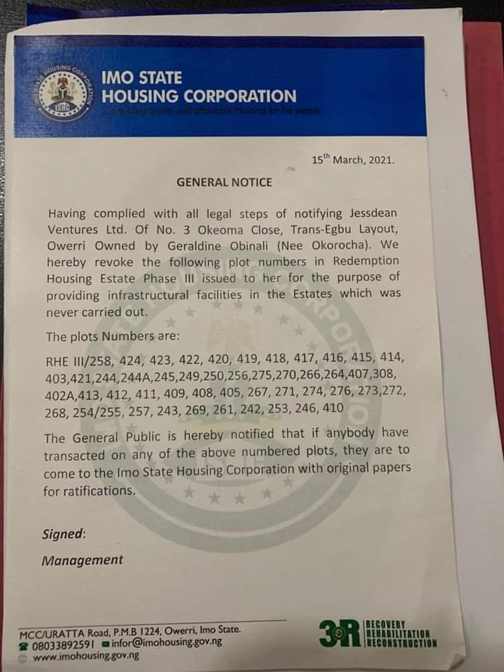 BREAKING:IMO STATE HOUSING CORPORATION REVOKES OWNERSHIP OF SOME PLOTS IN OWERRI