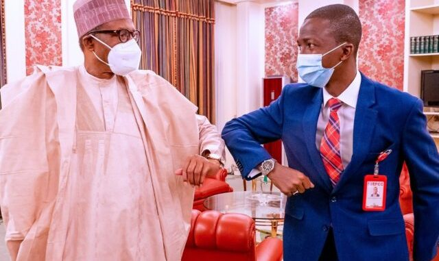 Buhari and the new EFCC Chairman, AbdulRasheed Bawa