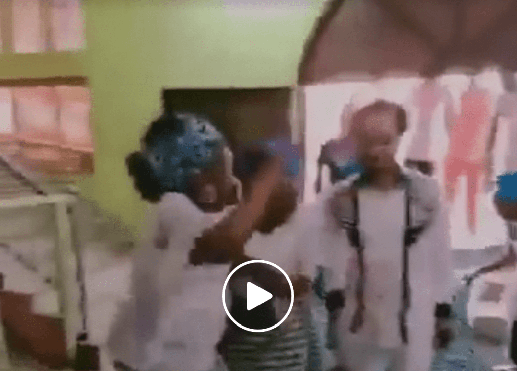 Watch As Odumeje The Indaboski Walked Majestically On Women's Wrappers Laid For Him As He Sprays Them Money