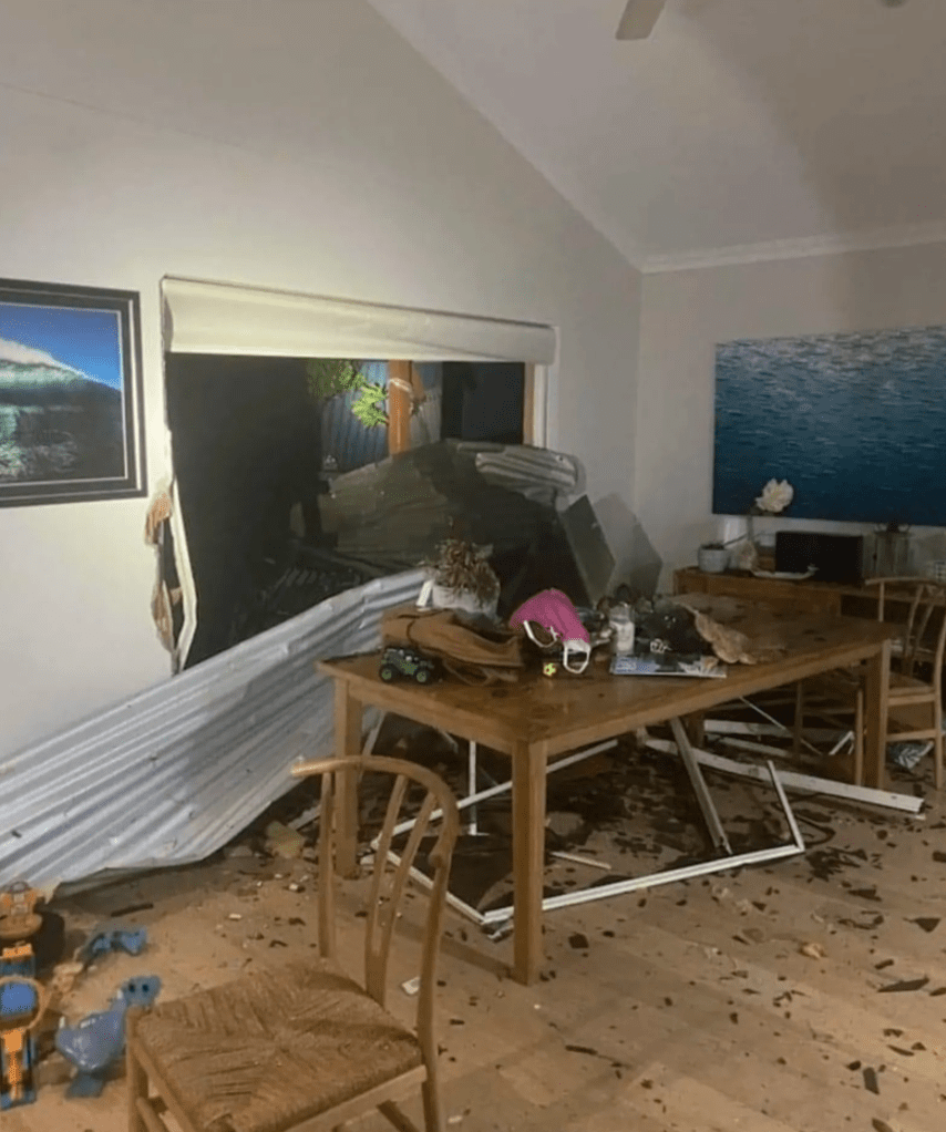 Ella Curic had just finished dinner when her neighbour's roof came through their window in Kalbarri