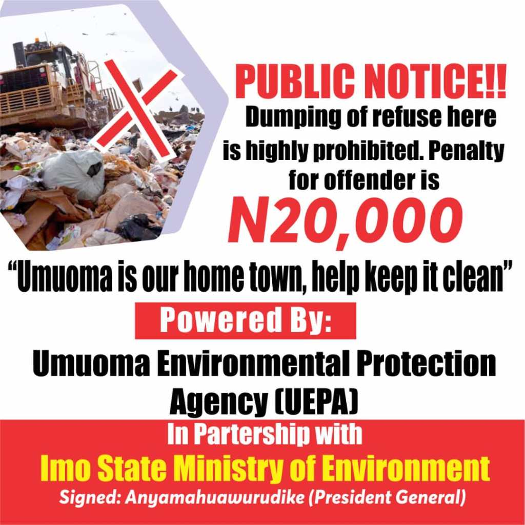 Umuoma Nekede kickstarts Control and management of Waste and Refuse Disposal in their area