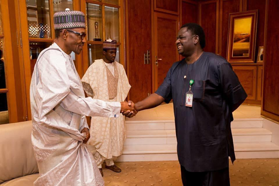 President Buhari and the Special Adviser to President Buhari on Media and Publicity, Femi Adesina