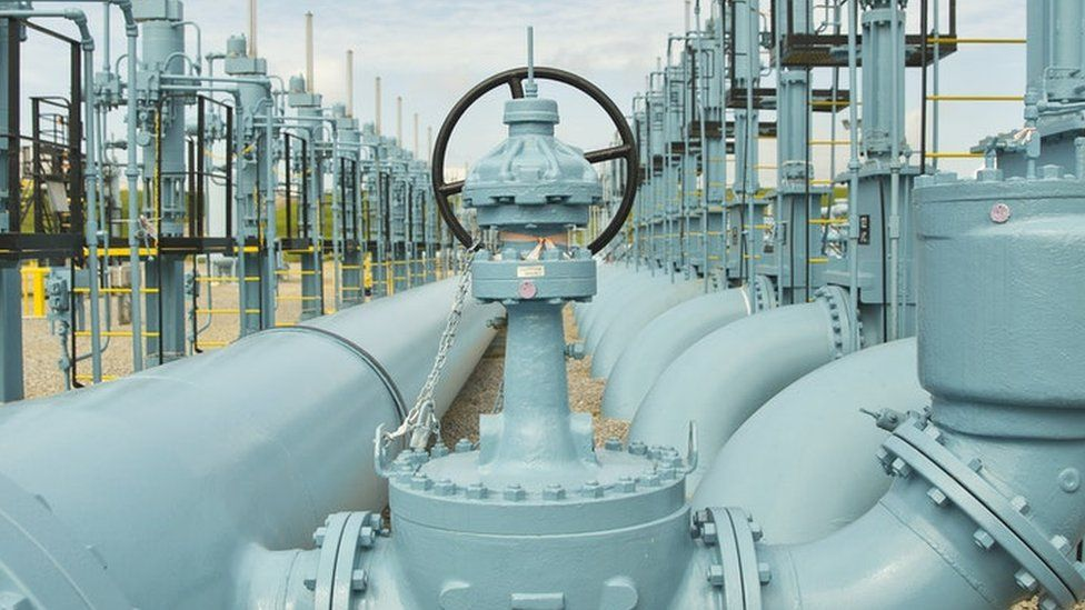 image captionThe Colonial Pipeline carries 2.5 million barrels a day