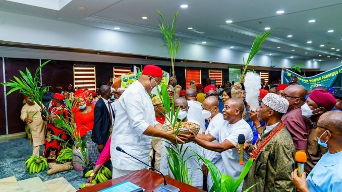 Governor Hope Uzodinma receives visitors from Ehime Mbano