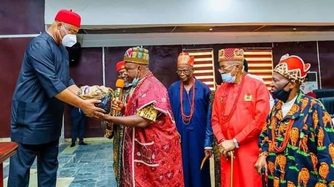Governor Hope Uzodinma receives visitors from Obowo LGA