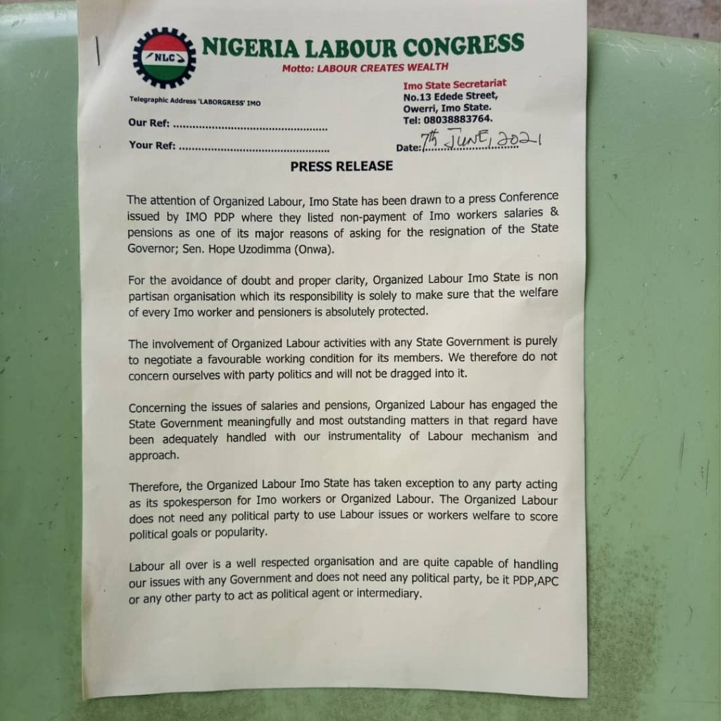 IMO NLC WARNS PDP TO STAY OFF FROM DISCUSSING WORKER'S MATTERS AS IT CONCERNS SALARIES AND PENSION 1