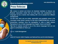 Press release: NOTICE TO ALSA MEMBERS ON OUR OFFICIAL LANGUAGES