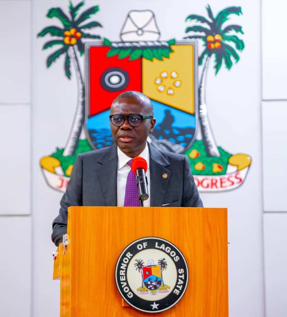 Lagos State Governor Babajide Sanwo Olu Speaking at a press briefing on state of Covid-19 in Lagos State