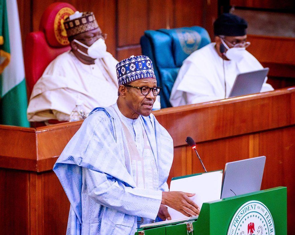 President Muhammadu Buhari at the National Assembly