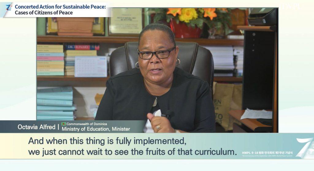 Hon. Octavia Alfred Explaining HWPL Peace Education