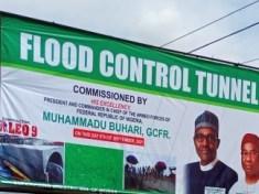 PRESIDENT MUHAMMADU BUHARI GCFR COMMISSIONS FLOOD CONTROL TUNNEL