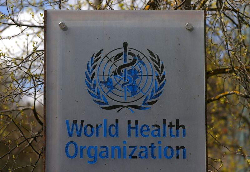 FILE PHOTO: A logo is pictured outside a building of the WHO in Geneva