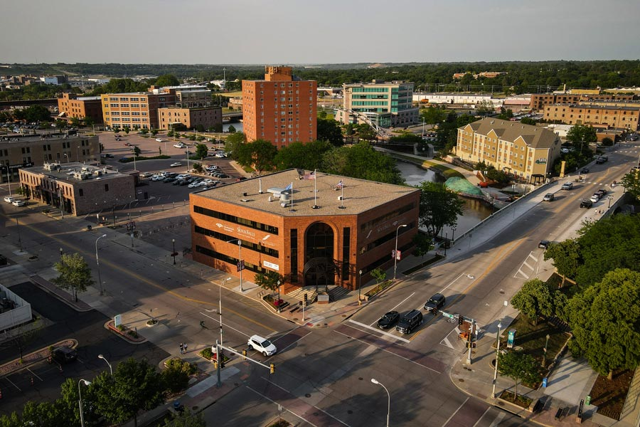An aerial view of a building in the heart of downtown that houses Trident Trust Co. in Sioux Falls, South Dakota. Image: Salwan Georges/The Washington Post