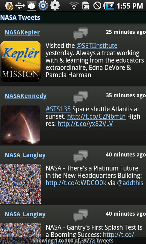 NASA for Android (Tweets)