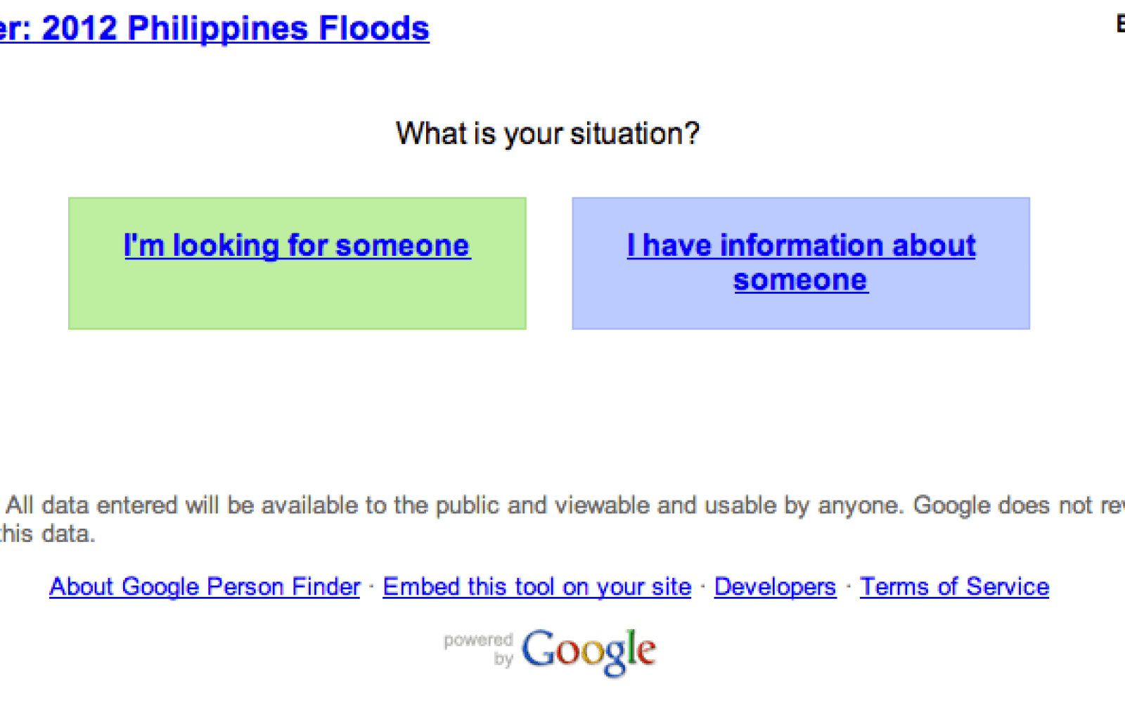 google person finder launches for those affected by 2012 philippines